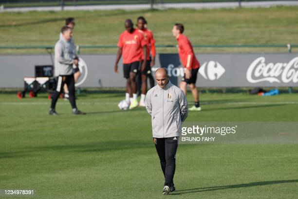 Belgium's head coach Roberto Martinez attends a training session of the Belgian national football team ahead of the three qualification games for the...