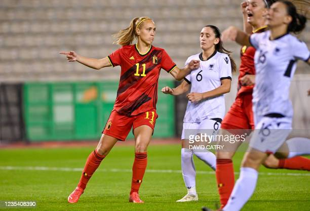 Belgium's Janice Cayman celebrates after scoring during a soccer game between Belgium's national team the Red Flames and Albania, Tuesday 21...