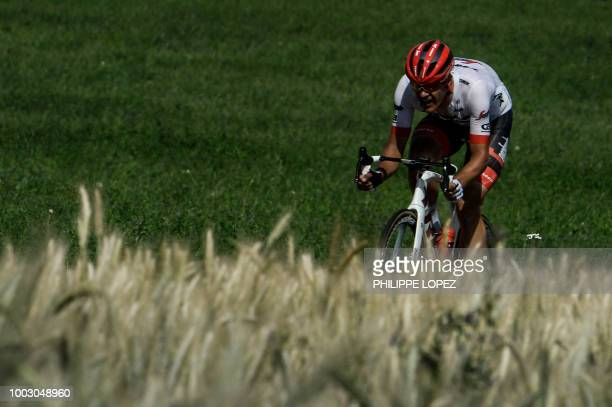 Belgium's Jasper Stuyven rides at the head of the race during his breakaway in the last 15 kilometers of the stage during the 14th stage of the 105th...