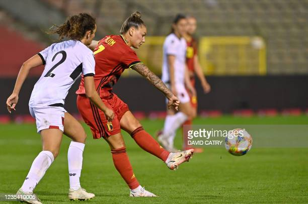 Belgium's Jassina Blom pictured in action during a soccer game between Belgium's national team the Red Flames and Albania, Tuesday 21 September 2021...