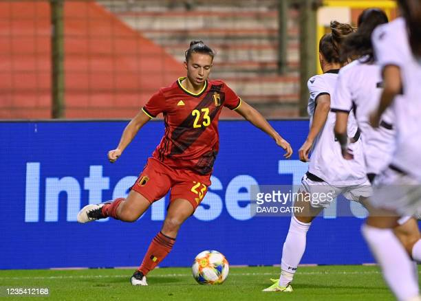 Belgium's Jody Vangheluwe pictured in action during a soccer game between Belgium's national team the Red Flames and Albania, Tuesday 21 September...