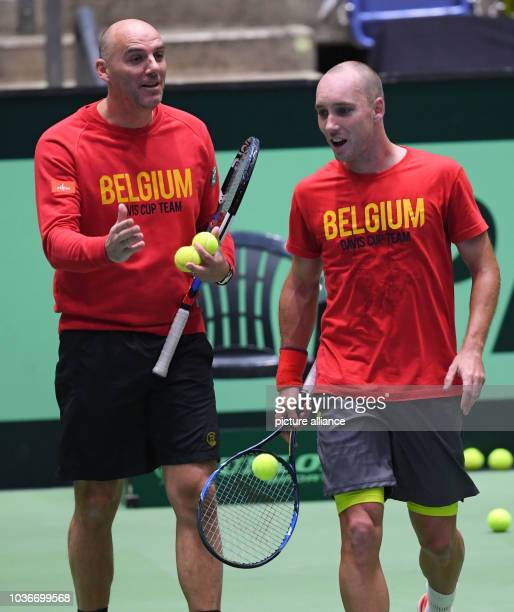 Belgium's Johan van Herck and Steve Darcis during a training session in the Fraport Arena in Frankfurt am Main, Germany, 31 January 2017. Germany...