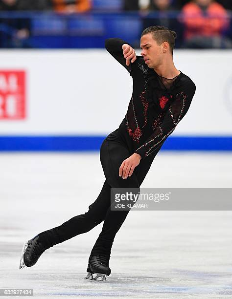 Belgium's Jorik Hendrickx competes during the men's free skating competition of the European Figure Skating Championship in Ostrava Czech Republic on...