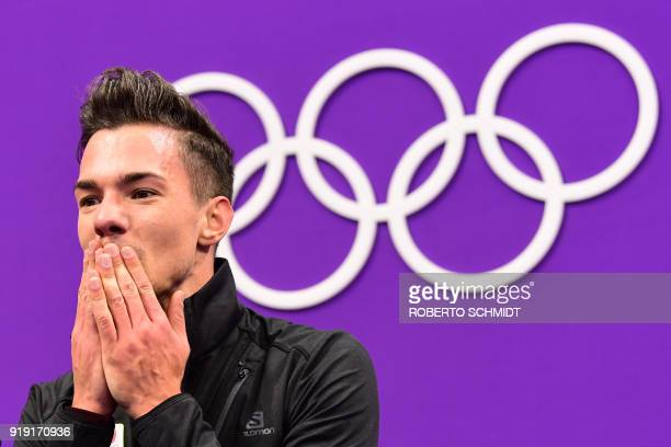 Belgium's Jorik Hendrickx reacts after competing in the men's single skating free skating of the figure skating event during the Pyeongchang 2018...