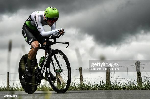 Belgium's Julien Vermote rides during the 20th stage of the 105th edition of the Tour de France cycling race a 31kilometer individual timetrial...