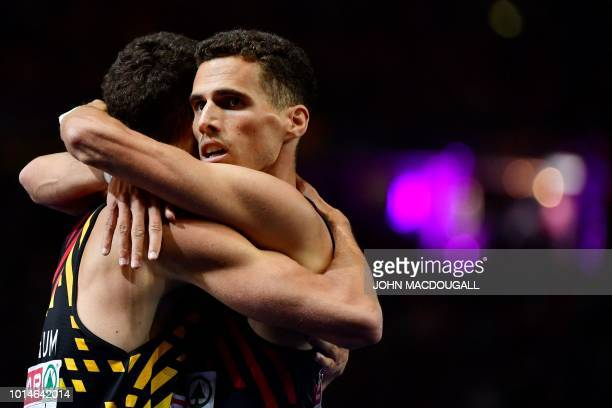 Belgium's Kevin Borlee and Belgium's Jonathan Borlee celebrate after the men's 400m final race during the European Athletics Championships at the...