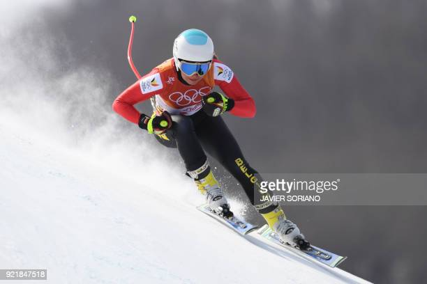 Belgium's Kim Vanreusel competes in the women's Downhill at the Jeongseon Alpine Center during the Pyeongchang 2018 Winter Olympic Games on February...
