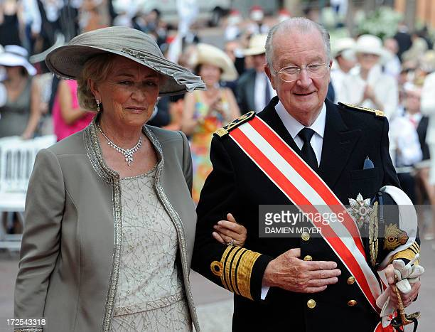 Belgium's King Albert II and Queen Paola arrive for the religious wedding of Prince Albert II of Monaco and Princess Charlene of Monaco at the...