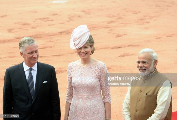 Belgium's King Philippe and Queen Mathilde are being welcomed by Indian Prime Minister Narendra Modi during an official welcoming ceremony at the...