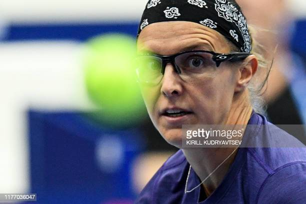 Belgium's Kirsten Flipkens looks at the ball during the WTA Kremlin Cup tennis tournament women's doubles final match in Moscow on October 20, 2019.