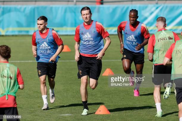 Belgium's Leandro Trossard, Belgium's Hans Vanaken and Belgium's Michy Batshuayi pictured during a training session of the Belgian national soccer...
