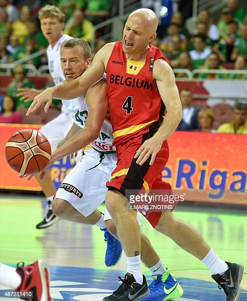 Belgium's Lionel Bosco vies for the ball with Lithuania's Lukas Lekavicius during the Eurobasket 2015 group D basketball match Lithuania vs Belgium...