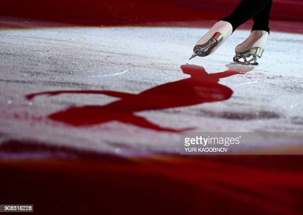Belgium's Loena Hendrickx performs during the Gala Exhibition at the ISU European Figure Skating Championships in Moscow on January 21 2018 / AFP...