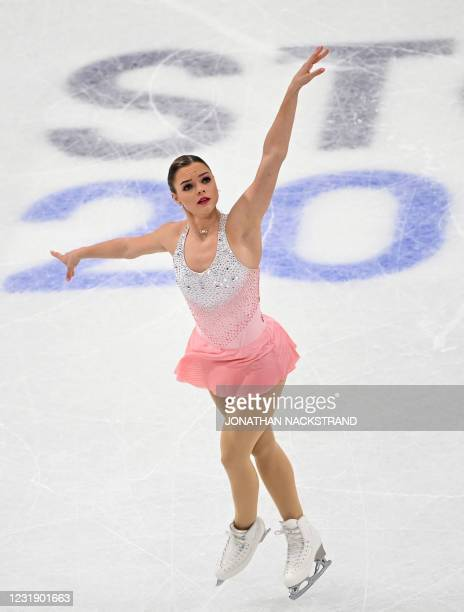 Belgium's Loena Hendrickx performs during the ladies' short programme event at the ISU World Figure Skating Championships in Stockholm on March 24,...