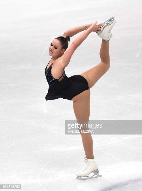 Belgium's Loena Hendrickx performs on March 21 2018 in Milan during the Ladies figure skating short program at the Milano World League Figure...