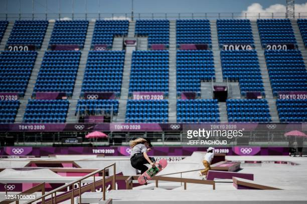 Belgium's Lore Bruggeman practices at Ariake Urban Sports Park ahead of the Tokyo 2020 Olympic Games in Tokyo, on July 22, 2021.