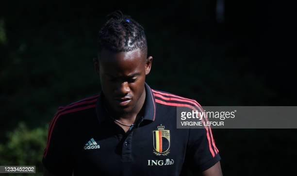 Belgium's Michy Batshuayi arrives for a training session of the Belgian national soccer team Red Devils, in Tubize, Monday 14 June 2021. The team is...