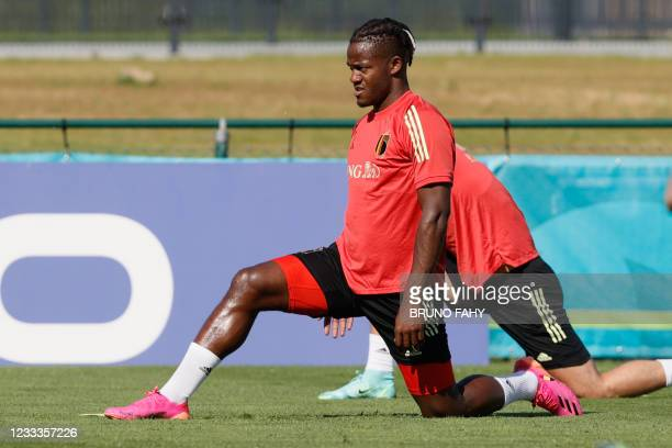 Belgium's Michy Batshuayi pictured during a training session of the Belgian national soccer team Red Devils, in Tubize, Wednesday 09 June 2021. The...