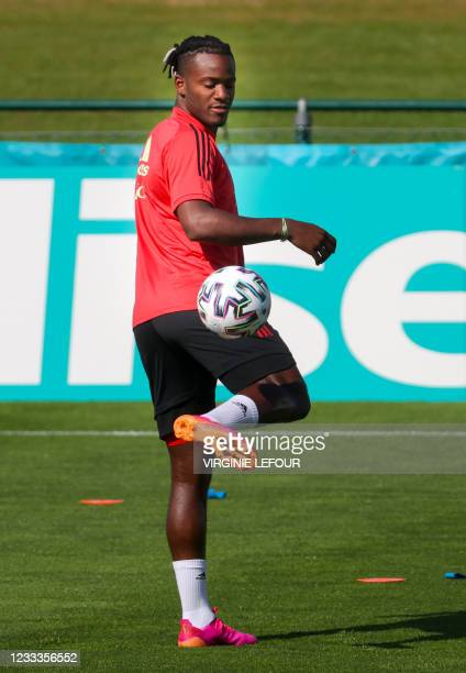 Belgium's Michy Batshuayi pictured in action during a training session of the Belgian national soccer team Red Devils, in Tubize, Wednesday 09 June...