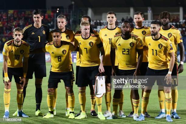 Belgium's midfielder Adnan Januzaj Belgium's midfielder Youri Tielemans Belgium's midfielder Kevin De Bruyne Belgium's forward Michy Batshuayi and...