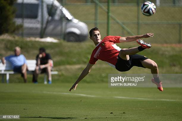 Belgium's midfielder Adnan Januzaj controls a ball as he attends a training session in Mogi das Cruzes on June 27 during the 2014 FIFA World Cup AFP...