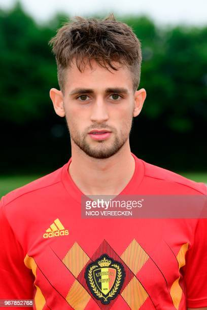 Belgium's midfielder Adnan Januzaj poses for the official picture at the national training centre in Tubize Belgium on June 4 2018 during their...