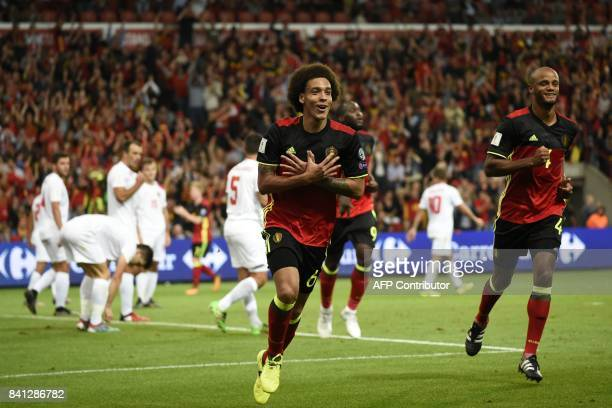 Belgium's midfielder Axel Witsel celebrates after scoring during the WC 2018 football qualification football match between Belgium and Gibraltar, at...
