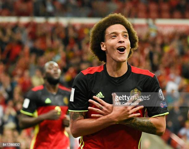 Belgium's midfielder Axel Witsel celebrates after scoring during the WC 2018 football qualification football match between Belgium and Gibraltar at...