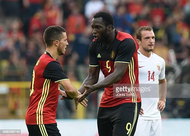 Belgium's midfielder Eden Hazard celebrates after scoring during the friendly football match between Belgium and Norway at the King Baudouin Stadium...