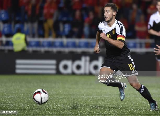 Belgium's midfielder Eden Hazard controls the ball during the Euro 2016 group D football match between Andorra and Belgium at the Municipal Stadium...