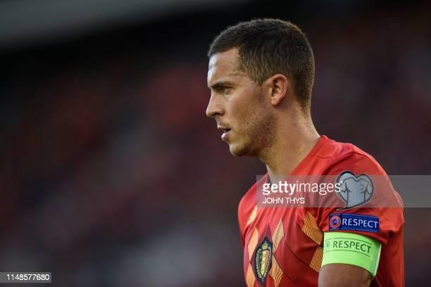 Belgium's midfielder Eden Hazard looks on during the UEFA Euro 2020 qualification football match between Belgium and Kazakhstan at the King Baudouin...