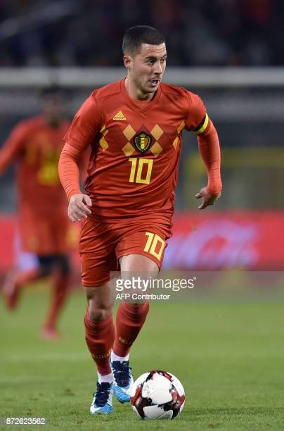 Belgium's midfielder Eden Hazard runs with the ball during the international friendly football match between Belgium and Mexico at the King Baudouin...
