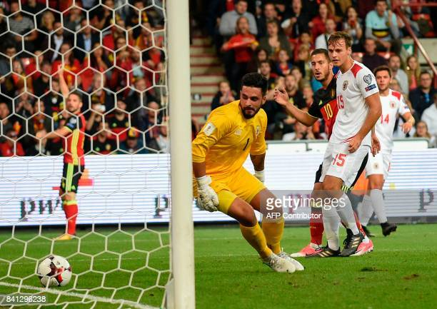 Belgium's midfielder Eden Hazard scores a goal during the WC 2018 football qualification football match between Belgium and Gibraltar, at the...