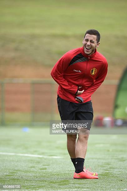 Belgium's midfielder Eden Hazard takes part in a training session during the 2014 FIFA World Cup football tournament in Mogi das Cruzes on June 19...