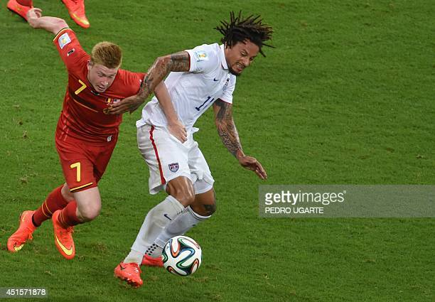 Belgium's midfielder Kevin De Bruyne and US midfielder Jermaine Jones vie for the ball during a Round of 16 football match between Belgium and USA at...