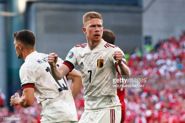 Belgium's midfielder Kevin De Bruyne celebrates after his team's first goal during the UEFA EURO 2020 Group B football match between Denmark and...