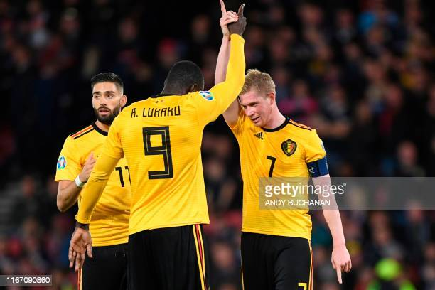 Belgium's midfielder Kevin De Bruyne celebrates scoring their fourth goal during the Euro 2020 football qualification match between Scotland and...