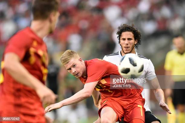 Belgium's midfielder Kevin De Bruyne eyes the ball during the international friendly football match between Belgium and Egypt at the King Baudouin...