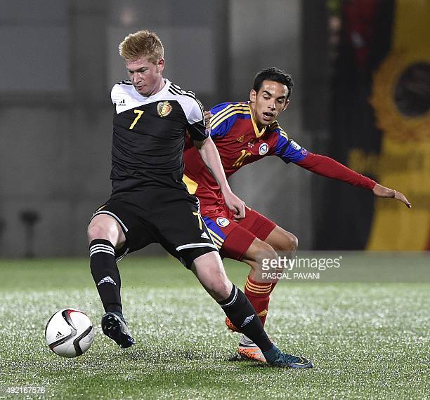 Belgium's midfielder Kevin De Bruyne vies with Andorra's forward Aaron Sanchez during the Euro Cup 2016 qualifying football match group D Andorra...