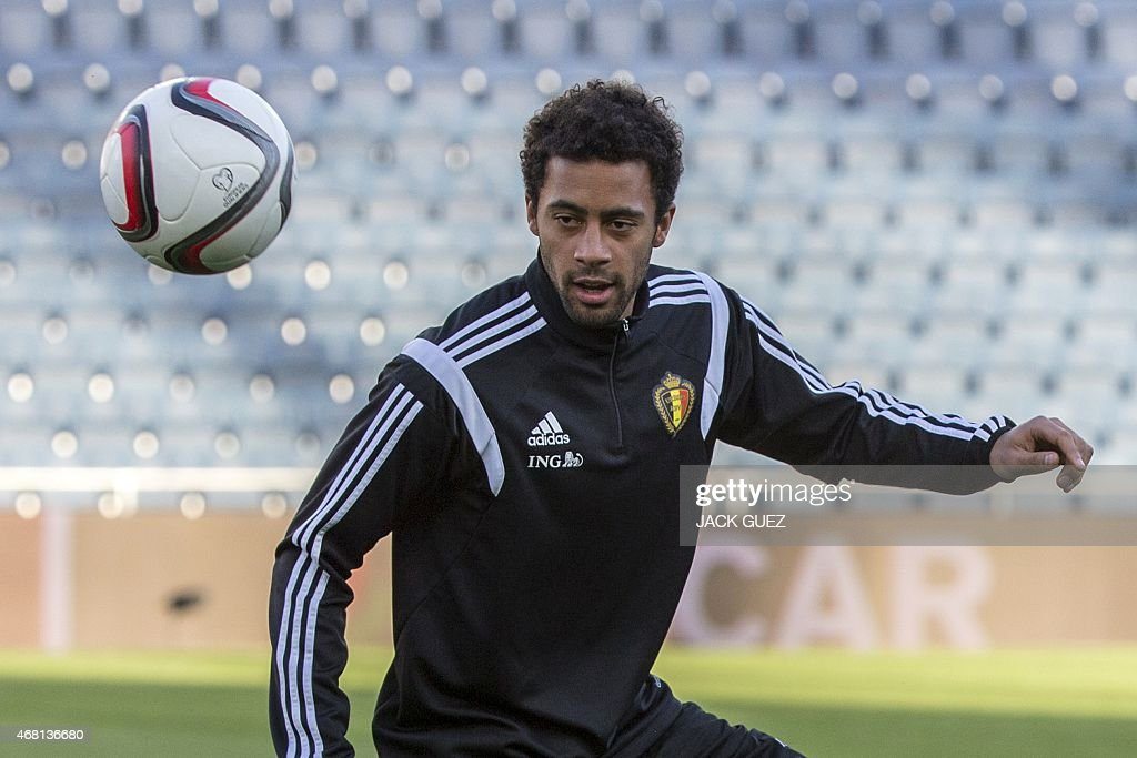Belgiums midfielder midfielder Mousa Dembele attends a training session of the national team at the Teddy Kollek Memorial Stadium in the city of Jerusalem, on March 30, 2015 on the eve of the Euro 2016 qualifying football match between Israel and Belguim.