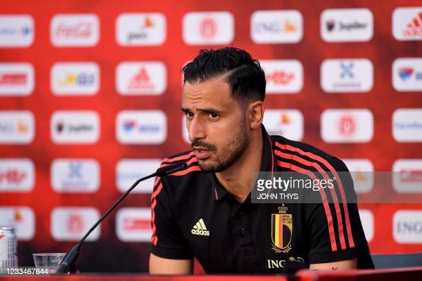 Belgium's midfielder Nacer Chadli addresses a press conference at the team's base camp in Tubize on June 15, 2021 during the UEFA EURO 2020 football...