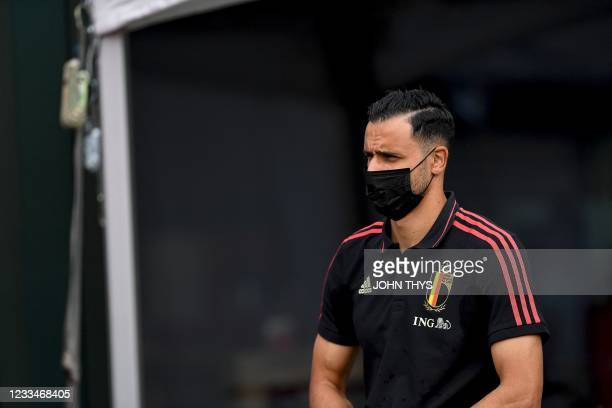 Belgium's midfielder Nacer Chadli arrives for a press conference at the team's base camp in Tubize on June 15, 2021 during the UEFA EURO 2020...