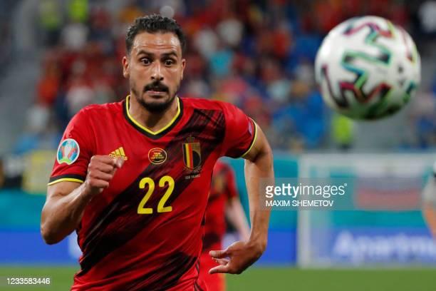 Belgium's midfielder Nacer Chadli runs after the ball during the UEFA EURO 2020 Group B football match between Finland and Belgium at Saint...