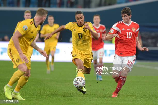Belgium's midfielder Youri Tielemans in action during the Euro 2020 football qualification match between Russia and Belgium at the Gazprom Arena in...