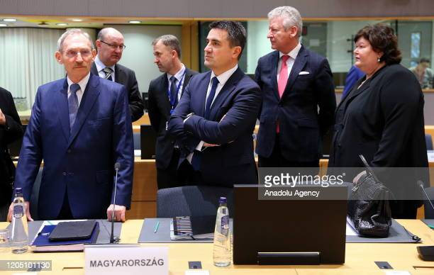 Belgium's Minister of Interior Affairs and Foreign Trade Pieter De Crem and Belgium's Health Minister Maggie De Block attend an extraordinary session...