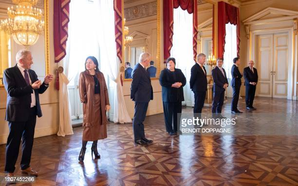 Belgium's Minister of Mobility Francois Bellot Minister of Energy Environment and Sustainable Development MarieChristine Marghem Minister of Pensions...