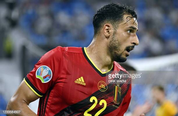 Belgium's Nacer Chadli reacts a soccer game between Finland and Belgium's Red Devils, the third game in the group stage of the 2020 UEFA European...