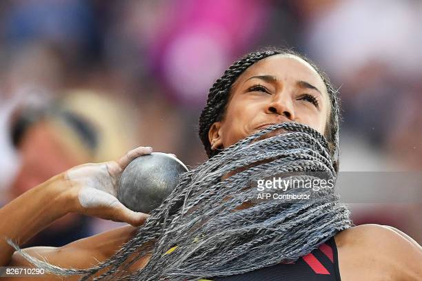 TOPSHOT Belgium's Nafissatou Thiam competes in the shot put of the women's heptathlon athletics event at the 2017 IAAF World Championships at the...