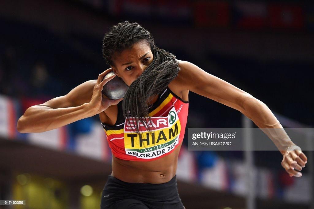 TOPSHOT - Belgium's Nafissatou Thiam competes in the women's pentathlon shot put at the 2017 European Athletics Indoor Championships in Belgrade on March 3, 2017. / AFP PHOTO / Andrej ISAKOVIC