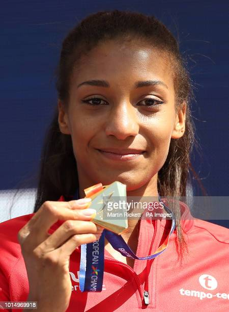Belgium's Nafissatou Thiam holds her gold medal won in the Women's Heptathlon during day five of the 2018 European Athletics Championships at the...